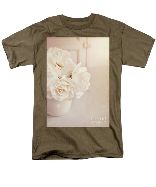 Men's T-Shirt  (Regular Fit) featuring the photograph Cream Roses In Vase by Lyn Randle