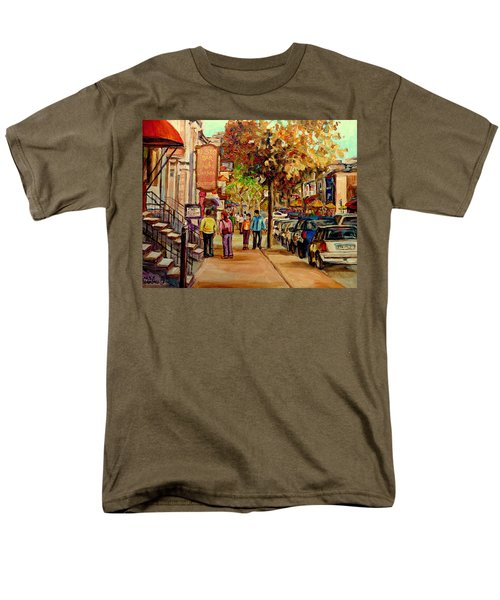Men's T-Shirt  (Regular Fit) featuring the painting Crescent Street Montreal by Carole Spandau
