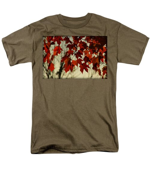 Men's T-Shirt  (Regular Fit) featuring the photograph Crimson Red Autumn Leaves by Chris Berry