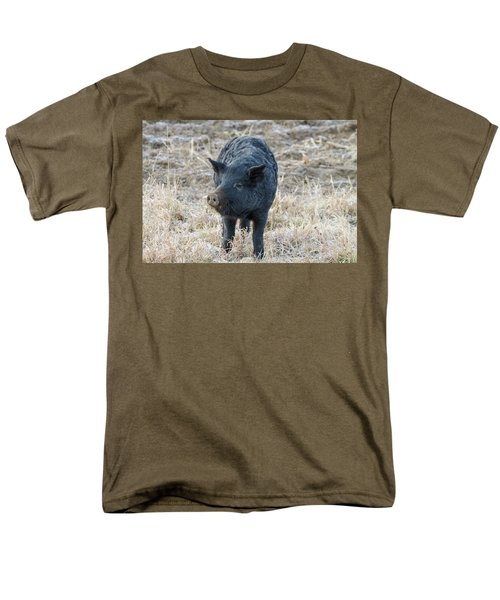 Men's T-Shirt  (Regular Fit) featuring the photograph Cute Black Pig by James BO Insogna