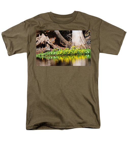 Cypress And Flower Reflections Men's T-Shirt  (Regular Fit) by Warren Thompson