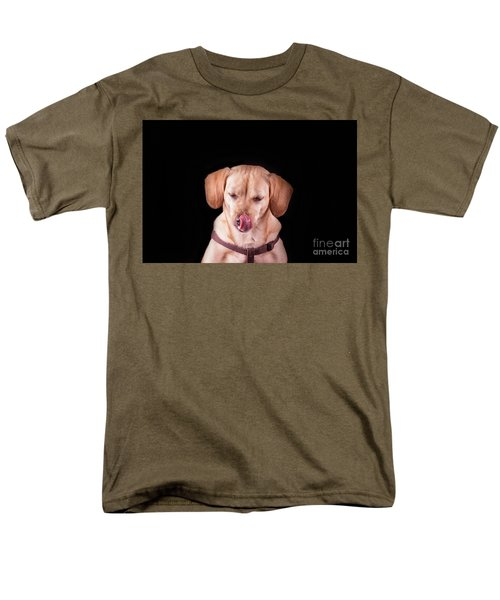 Dachshund Mix Licking Lips Men's T-Shirt  (Regular Fit) by Stephanie Hayes