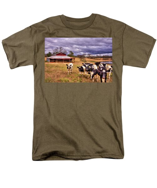 Dairy Heifer Groupies The Red Barn Art Men's T-Shirt  (Regular Fit) by Reid Callaway