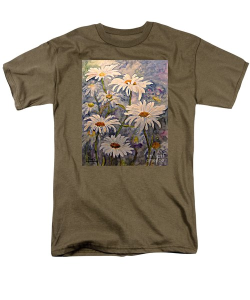 Daisies Watercolor Men's T-Shirt  (Regular Fit) by AmaS Art