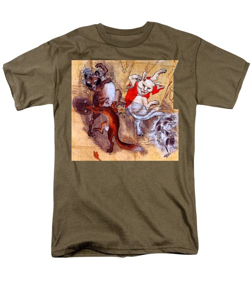 Japanese Meiji Period Dancing Feral Cat With Wild Animal Friends Men's T-Shirt  (Regular Fit) by Peter Gumaer Ogden Collection