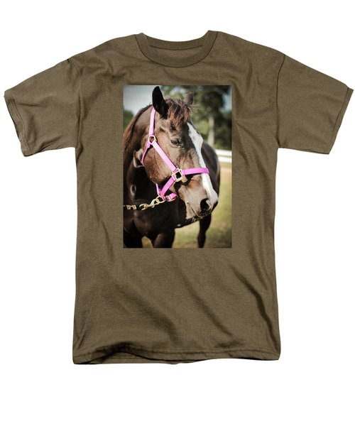 Men's T-Shirt  (Regular Fit) featuring the photograph Dark Brown Horse In A Pink Bridle by Kelly Hazel
