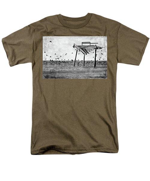 Men's T-Shirt  (Regular Fit) featuring the photograph Death Of A Friend - Frisco Pier Outer Banks Bw by Dan Carmichael