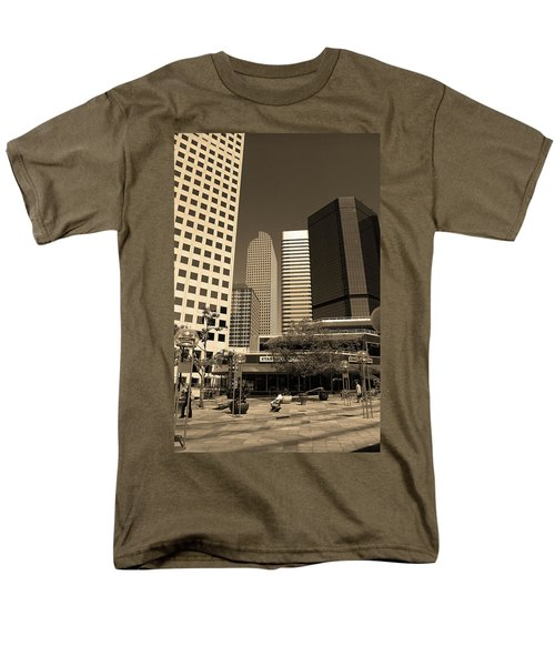 Men's T-Shirt  (Regular Fit) featuring the photograph Denver Architecture Sepia by Frank Romeo