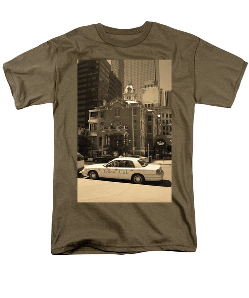 Men's T-Shirt  (Regular Fit) featuring the photograph Denver Downtown With Yellow Cab Sepia by Frank Romeo