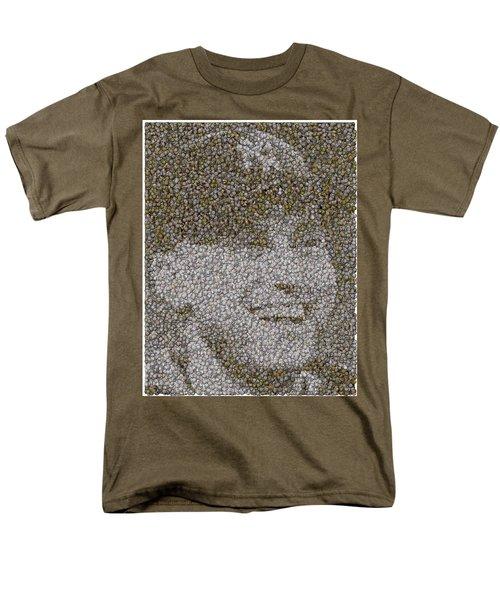 Men's T-Shirt  (Regular Fit) featuring the mixed media Derek Jeter Baseballs Mosaic by Paul Van Scott