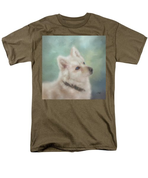 Men's T-Shirt  (Regular Fit) featuring the mixed media Diamond, The White Shepherd by Colleen Taylor
