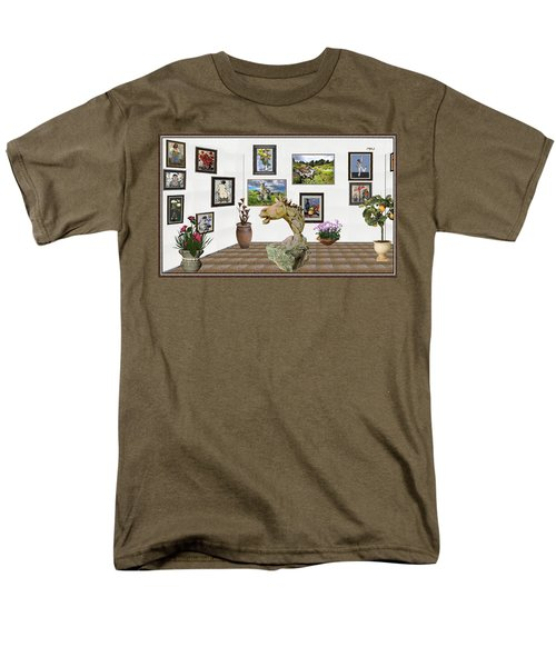 Men's T-Shirt  (Regular Fit) featuring the mixed media Digital Exhibition _  Sculpture Of A Horse by Pemaro
