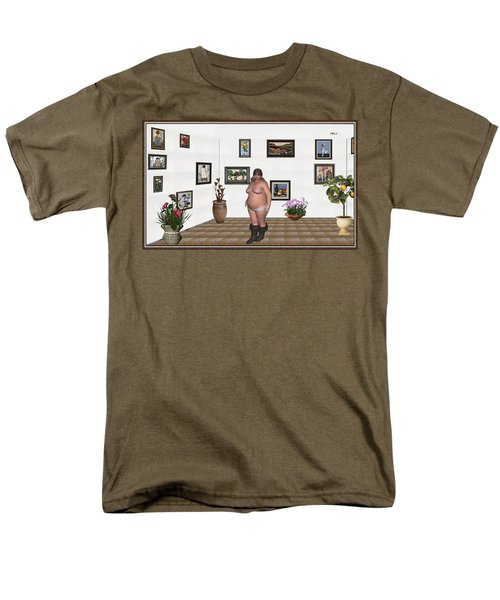 Men's T-Shirt  (Regular Fit) featuring the mixed media Digital Exhibition  22 Of Posing Lady  by Pemaro