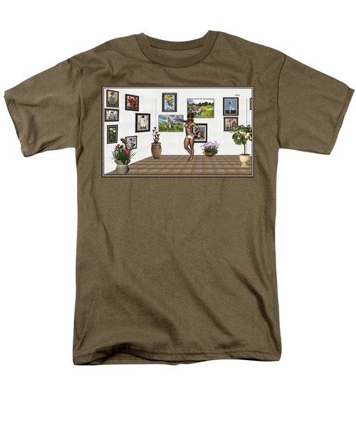 Men's T-Shirt  (Regular Fit) featuring the mixed media digital exhibition 32 _ posing  Girl 32  by Pemaro