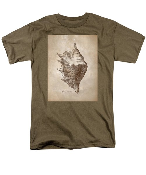 Men's T-Shirt  (Regular Fit) featuring the drawing Distressed Antique Nautical Seashell 1  by Karen Whitworth