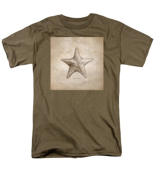 Men's T-Shirt  (Regular Fit) featuring the drawing Distressed Antique Nautical Starfish by Karen Whitworth