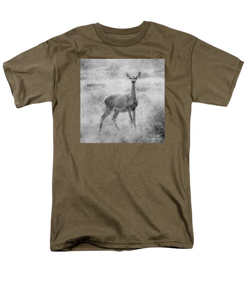 Men's T-Shirt  (Regular Fit) featuring the photograph Doe A Deer A Female Deer In Mono by Linsey Williams