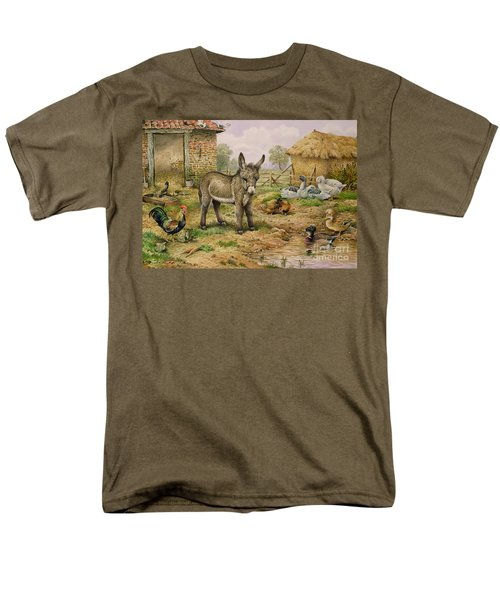 Donkey And Farmyard Fowl  Men's T-Shirt  (Regular Fit) by Carl Donner
