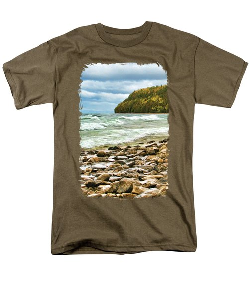 Men's T-Shirt  (Regular Fit) featuring the painting Door County Porcupine Bay Waves by Christopher Arndt