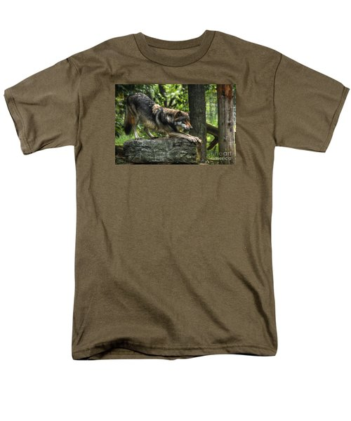Downward Facing Wolf Men's T-Shirt  (Regular Fit) by William Fields