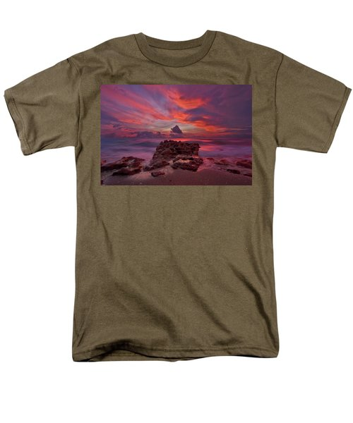 Men's T-Shirt  (Regular Fit) featuring the photograph Dramatic Sunrise Over Coral Cove Beach In Jupiter Florida by Justin Kelefas