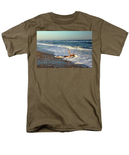 Men's T-Shirt  (Regular Fit) featuring the photograph Driftwood In The Surf by Roupen  Baker