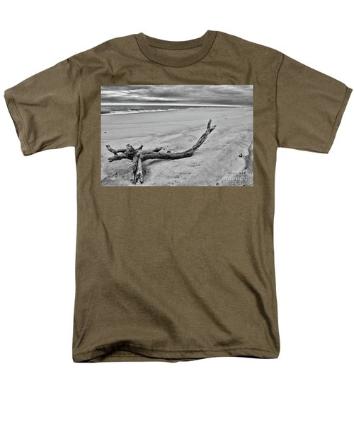 Driftwood On The Beach In Black And White Men's T-Shirt  (Regular Fit) by Paul Ward