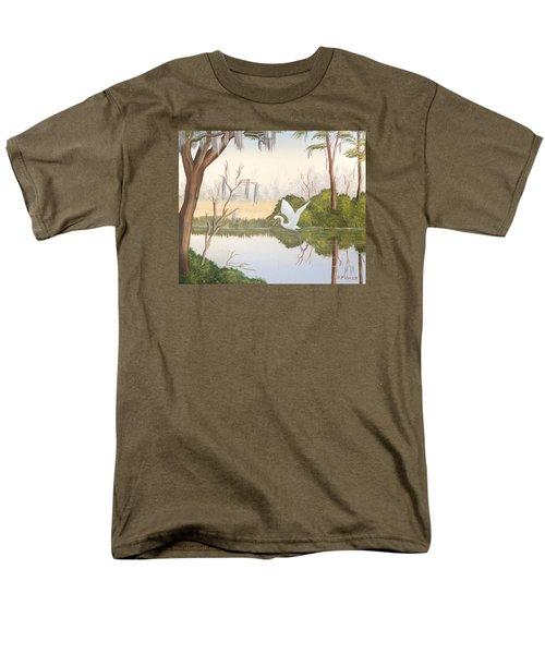 Egret In Flight 1 Men's T-Shirt  (Regular Fit) by Denise Fulmer