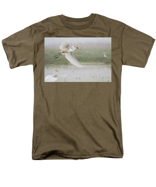 Men's T-Shirt  (Regular Fit) featuring the photograph Egrets Fish by Kelly Marquardt