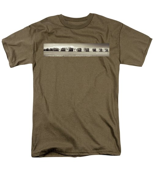 Men's T-Shirt  (Regular Fit) featuring the photograph Eleven In A Row - Officer's Row - Monotone by Colleen Kammerer