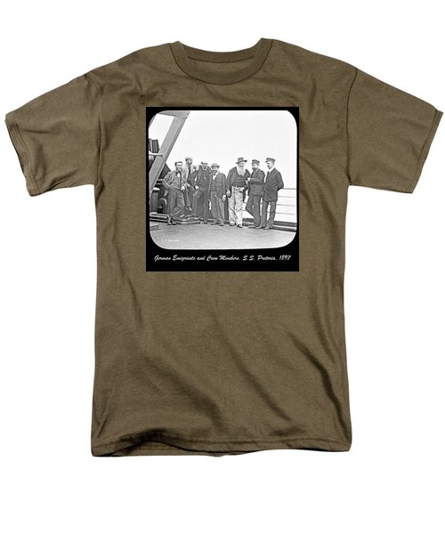 Men's T-Shirt  (Regular Fit) featuring the photograph Emigrants Passangers And Crew Members On Deck Of Ss Pretori by A Gurmankin