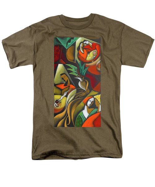 Men's T-Shirt  (Regular Fit) featuring the painting Enjoying Food And Drink by Leon Zernitsky