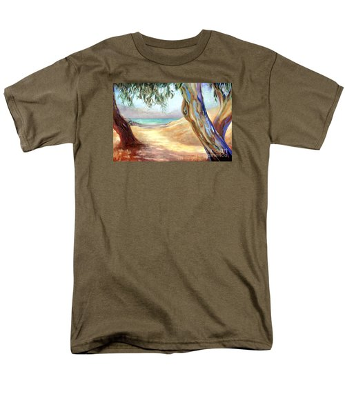 Men's T-Shirt  (Regular Fit) featuring the painting Eucalyptus Beach Trail by Michael Rock