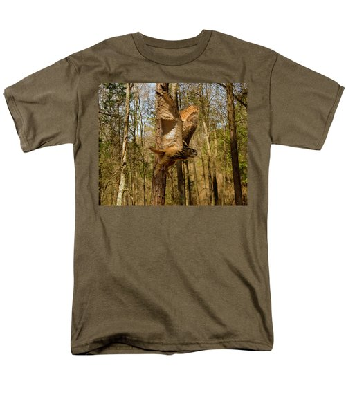 Men's T-Shirt  (Regular Fit) featuring the photograph Eurasian Eagle Owl In Flight by Chris Flees