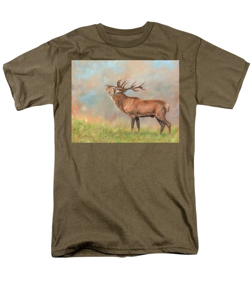 Men's T-Shirt  (Regular Fit) featuring the painting European Red Deer by David Stribbling
