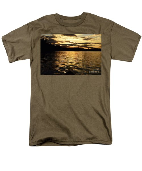 Men's T-Shirt  (Regular Fit) featuring the photograph Evening Paddle On Amoeber Lake by Larry Ricker