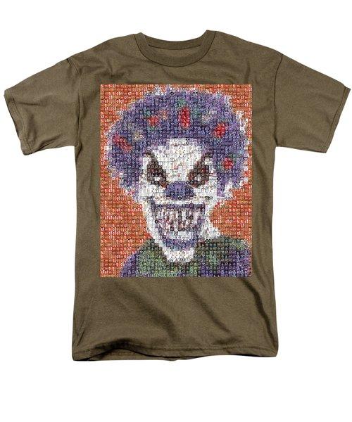 Men's T-Shirt  (Regular Fit) featuring the mixed media Evil Clown Mosaic by Paul Van Scott