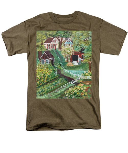 Men's T-Shirt  (Regular Fit) featuring the painting Fairview Farm by Virginia Coyle