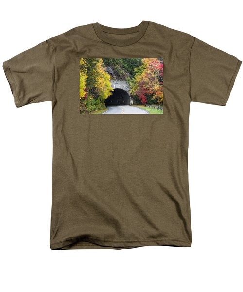 Fall Blue Ridge Parkway @ Rough Ridge Tunnel  Men's T-Shirt  (Regular Fit) by Nature Scapes Fine Art
