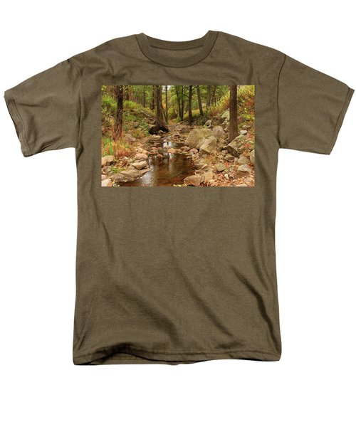 Fall Stream And Rocks Men's T-Shirt  (Regular Fit) by Roena King