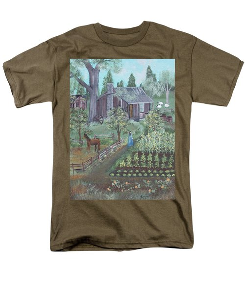 Men's T-Shirt  (Regular Fit) featuring the painting Farmstead by Virginia Coyle