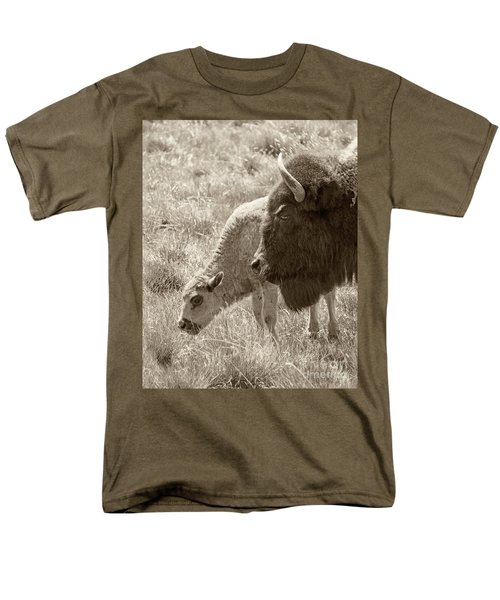 Men's T-Shirt  (Regular Fit) featuring the photograph Father And Baby Buffalo by Rebecca Margraf