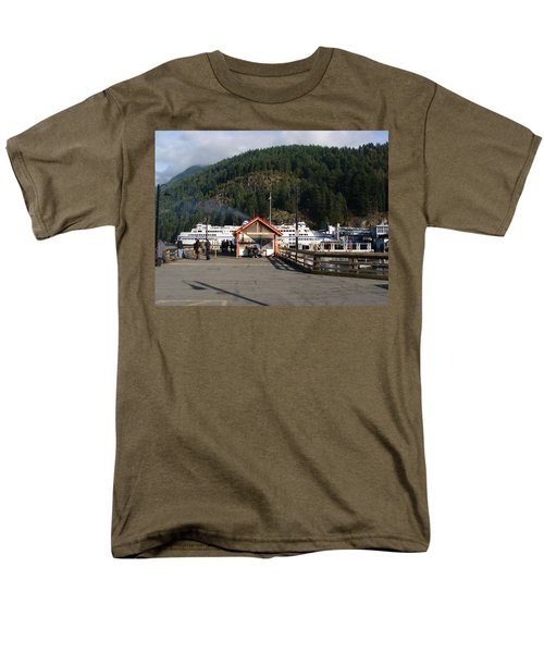 Men's T-Shirt  (Regular Fit) featuring the painting Ferry Landed At Horseshoe Bay by Rod Jellison