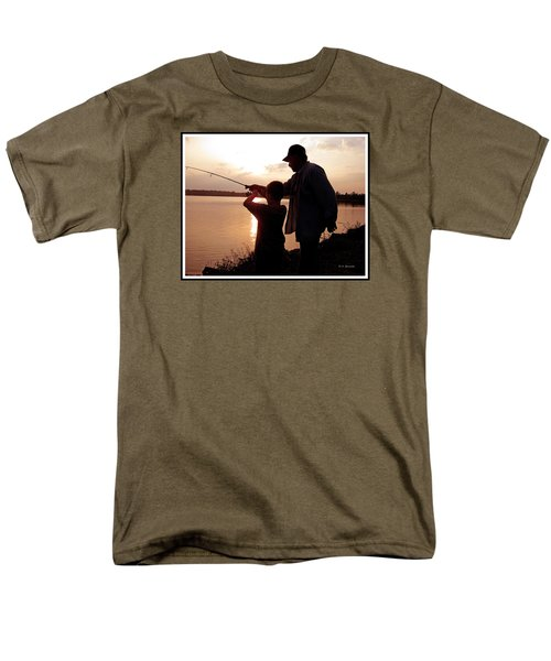 Men's T-Shirt  (Regular Fit) featuring the photograph Fishing At Sunset Grandfather And Grandson by A Gurmankin
