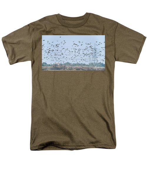 Flock Of Beautiful Migratory Lapwing Birds In Clear Winter Sky Men's T-Shirt  (Regular Fit) by Matthew Gibson