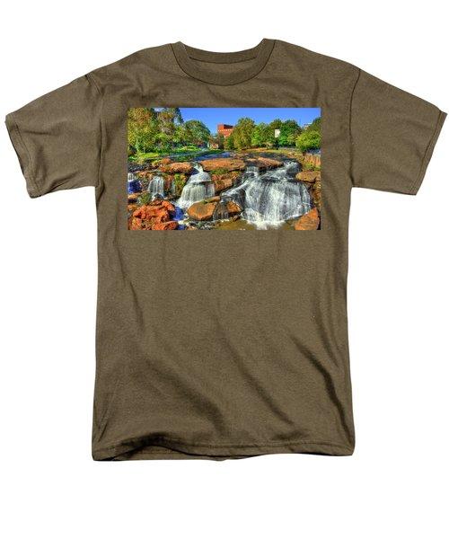 Flow On Reedy River Falls Park Art Greenville Sc Men's T-Shirt  (Regular Fit) by Reid Callaway
