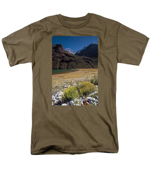 Flowers And Mountain Lake In Santa Cruz Valley Men's T-Shirt  (Regular Fit) by Aivar Mikko