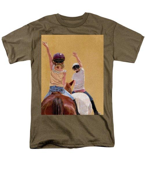 Follow The Leader - Horseback Riding Lesson Painting Men's T-Shirt  (Regular Fit) by Patricia Barmatz