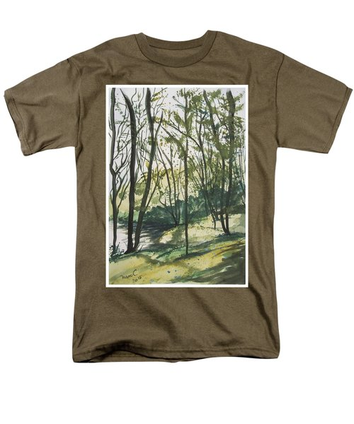 Men's T-Shirt  (Regular Fit) featuring the painting Forest By The Lake by Manuela Constantin