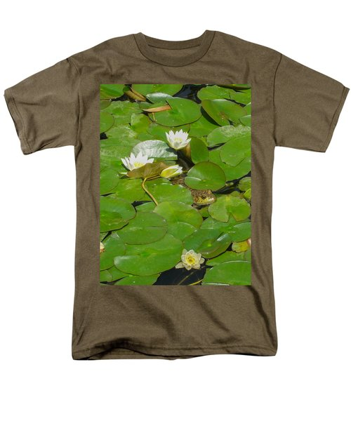 Frog With Water Lilies Men's T-Shirt  (Regular Fit) by Mark Barclay
